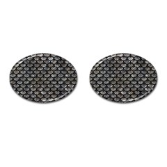 Scales3 Black Marble & Gray Stone (r) Cufflinks (oval)