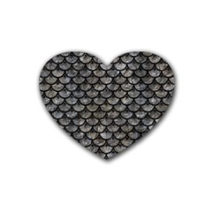 Scales3 Black Marble & Gray Stone (r) Rubber Coaster (heart)