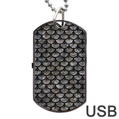 Scales3 Black Marble & Gray Stone (r) Dog Tag Usb Flash (one Side)