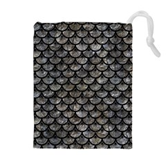 Scales3 Black Marble & Gray Stone (r) Drawstring Pouches (extra Large)