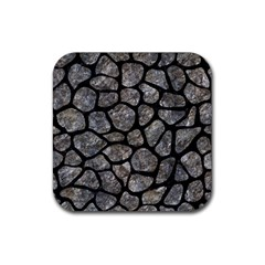 Skin1 Black Marble & Gray Stone Rubber Square Coaster (4 Pack)