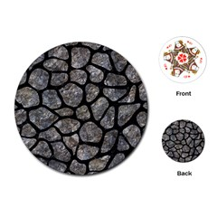 Skin1 Black Marble & Gray Stone Playing Cards (round)