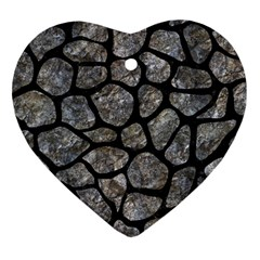 Skin1 Black Marble & Gray Stone Heart Ornament (two Sides)