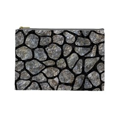 Skin1 Black Marble & Gray Stone Cosmetic Bag (large)