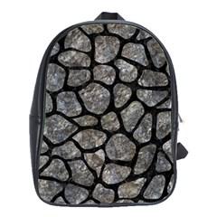 Skin1 Black Marble & Gray Stone School Bag (large)