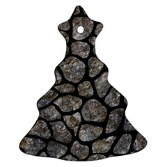 Skin1 Black Marble & Gray Stone Christmas Tree Ornament (two Sides)