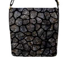 Skin1 Black Marble & Gray Stone Flap Messenger Bag (l)