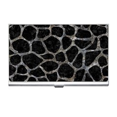 Skin1 Black Marble & Gray Stone (r) Business Card Holders