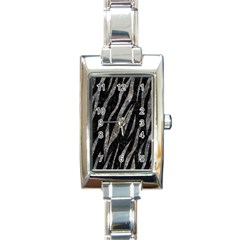 Skin3 Black Marble & Gray Stone Rectangle Italian Charm Watch