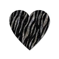 Skin3 Black Marble & Gray Stone Heart Magnet
