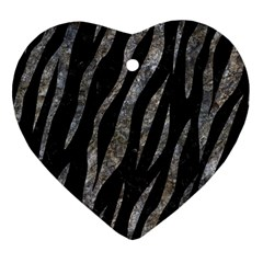 Skin3 Black Marble & Gray Stone Heart Ornament (two Sides)