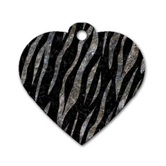 Skin3 Black Marble & Gray Stone Dog Tag Heart (one Side)