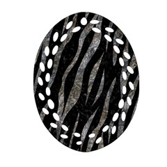 Skin3 Black Marble & Gray Stone Oval Filigree Ornament (two Sides)