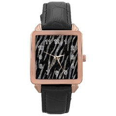 Skin3 Black Marble & Gray Stone Rose Gold Leather Watch