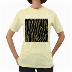 Skin4 Black Marble & Gray Stone Women s Yellow T Shirt