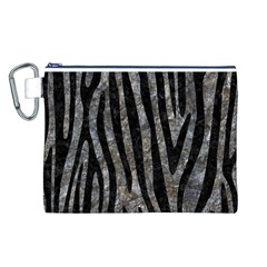Skin4 Black Marble & Gray Stone Canvas Cosmetic Bag (l)