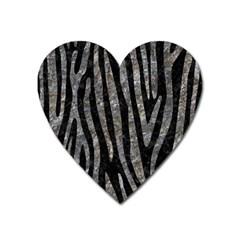 Skin4 Black Marble & Gray Stone (r) Heart Magnet