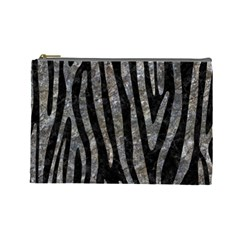 Skin4 Black Marble & Gray Stone (r) Cosmetic Bag (large)