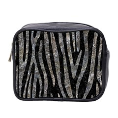 Skin4 Black Marble & Gray Stone (r) Mini Toiletries Bag 2 Side