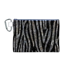 Skin4 Black Marble & Gray Stone (r) Canvas Cosmetic Bag (m)