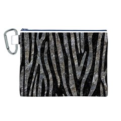 Skin4 Black Marble & Gray Stone (r) Canvas Cosmetic Bag (l)
