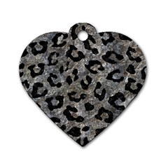 Skin5 Black Marble & Gray Stone Dog Tag Heart (one Side)