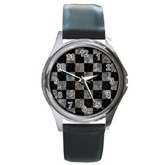 Square1 Black Marble & Gray Stone Round Metal Watch