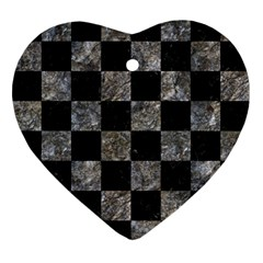 Square1 Black Marble & Gray Stone Ornament (heart)