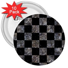 Square1 Black Marble & Gray Stone 3  Buttons (10 Pack)