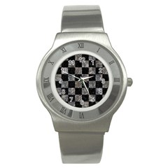Square1 Black Marble & Gray Stone Stainless Steel Watch