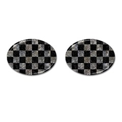 Square1 Black Marble & Gray Stone Cufflinks (oval)