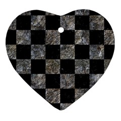 Square1 Black Marble & Gray Stone Heart Ornament (two Sides)