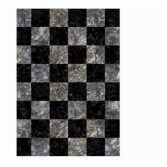 Square1 Black Marble & Gray Stone Large Garden Flag (two Sides)
