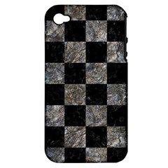 Square1 Black Marble & Gray Stone Apple Iphone 4/4s Hardshell Case (pc+silicone)