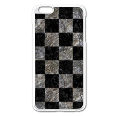 Square1 Black Marble & Gray Stone Apple Iphone 6 Plus/6s Plus Enamel White Case