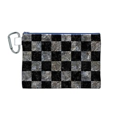 Square1 Black Marble & Gray Stone Canvas Cosmetic Bag (m)