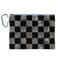 Square1 Black Marble & Gray Stone Canvas Cosmetic Bag (xl)
