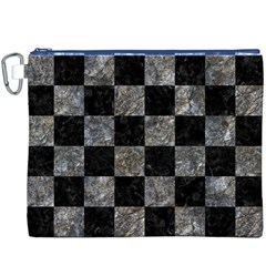 Square1 Black Marble & Gray Stone Canvas Cosmetic Bag (xxxl)