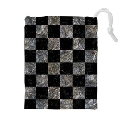 Square1 Black Marble & Gray Stone Drawstring Pouches (extra Large)