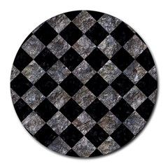 Square2 Black Marble & Gray Stone Round Mousepads