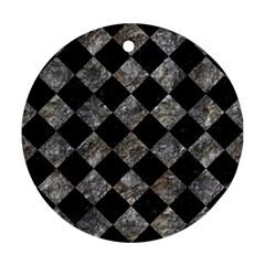 Square2 Black Marble & Gray Stone Ornament (round)