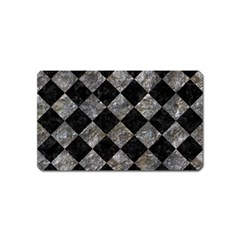 Square2 Black Marble & Gray Stone Magnet (name Card)