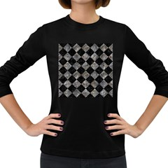 Square2 Black Marble & Gray Stone Women s Long Sleeve Dark T Shirts
