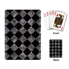 Square2 Black Marble & Gray Stone Playing Card