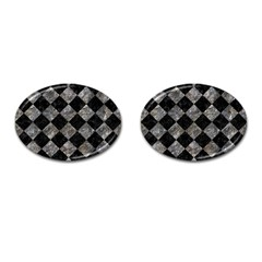 Square2 Black Marble & Gray Stone Cufflinks (oval)