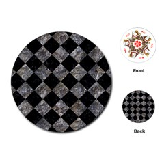 Square2 Black Marble & Gray Stone Playing Cards (round)