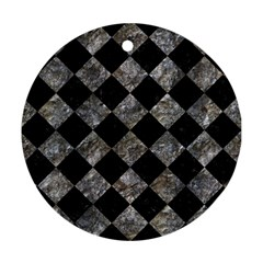 Square2 Black Marble & Gray Stone Round Ornament (two Sides)