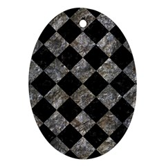 Square2 Black Marble & Gray Stone Oval Ornament (two Sides)