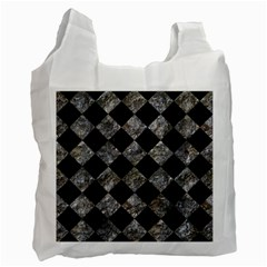 Square2 Black Marble & Gray Stone Recycle Bag (two Side)