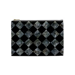Square2 Black Marble & Gray Stone Cosmetic Bag (medium)